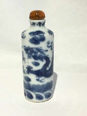 Fine Estate Antique Vintage Chinese Blue White Porcelain Snuff Bottle Dragons