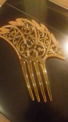 Pretty Antique Faux Tortoiseshell and Amber Beaded Hair comb