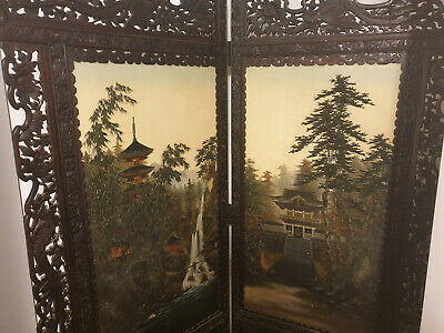Antique decorative oriental two fold screen, hand painted, carved wooden frame