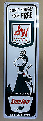"""Sinclair Dino-S&H Green Stamp Sign-Heavy Steel and Large-9"""" x 30""""Beautiful Sign"""