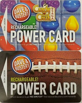 Two Used Dave and Busters Power Cards~With A Total of 27.8 Chips & 732 Tickets