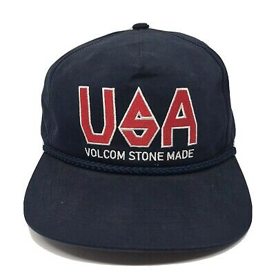 Genuine Volcom Stone Made USA Snap Back Hat Red White Blue One Size Fits All