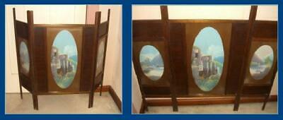 Antique Hand-Painted Wooden Fireplace Screen (Blue Mountains) / c.1905