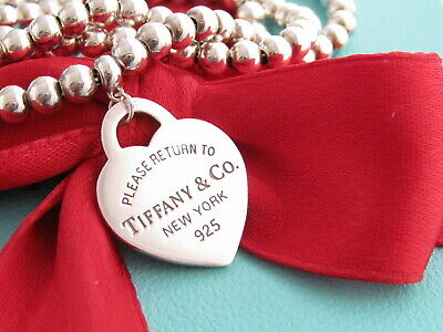 """Tiffany & Co Silver 925 Heart Return To Bead Necklace 16.25"""""""