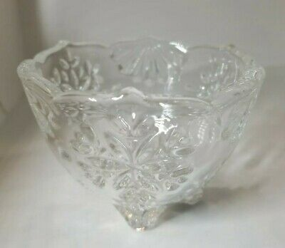Mikasa Snowflake Votive Candle Holder Candy Dish 3 Footed Christmas Winter Bowl