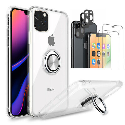 For iPhone 11/11 Pro/ 11 Pro Max Clear Case Shockproof Protective Ring Cover