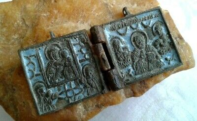 "ANTIQUE c.18-19th CENTURY ORTHODOX 2-PIECE BRONZE ""SOLDIER'S"" ICON ST. NICHOLAS"
