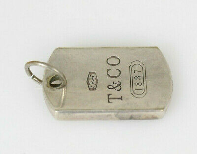 Tiffany & Co. Sterling Silver 1837 Dog Tag Bar Pendant Charm *