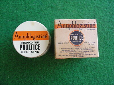 Vintage 60's Antiphlogistine unused poultice pack/retro/packaging/chemist