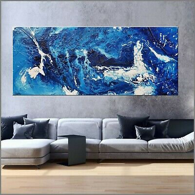 Huge Blue Modern Abstract Art Painting Textured Canvas 240cm x 100cm Franko