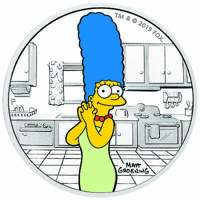 2019-P $1 Tuvalu Marge Simpson 1oz 9999 Silver Proof Coin
