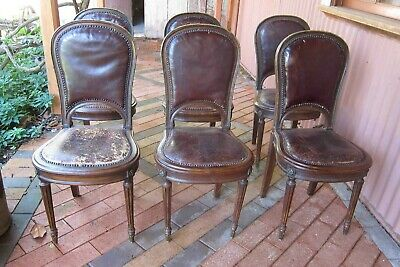 19th Century Original French Dining Chairs, set of 6 leather upholstered