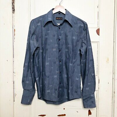 Ben Sherman Hunting Print Button Down Shirt Size Small Blue Gray Deer Head Dogs