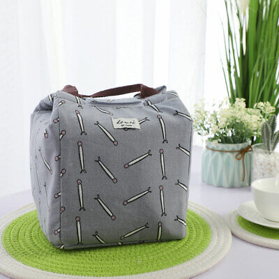 Insulated Lunch Box Warm Cooler Picnic Travel Food Bag Grey w Small Fish Pattern