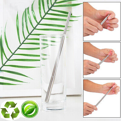 Bar Brush Collapsible Metal Folding Straw Reusable Stretch Stainless Steel