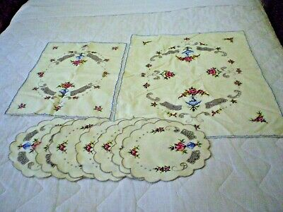 Vintage Table Centres X2 Doilies X 7 Cross Stitch Roses Ecru Inserts Cotton
