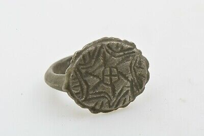 Medieval Knights Templar Seal Silver Ring CROSS Crusader Times 12th C size 7 1/4
