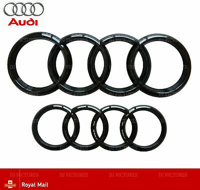 Audi Gloss Black Front Rear Grille Bonnet Badge Rings A1 A3 A4 A5 A6 273mm 193mm