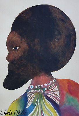 Fine Neo Expressionism original watercolor painting , Listed, Signed, Museum art