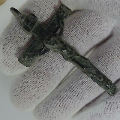 3724   ANCIENT CROSS OF CALAMINA LEAD PEWTER  16th century JESUS AND MARIA