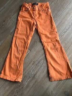 Mini Boden Girls Orange Embroidered Flared Jeans Size 8. Excellent Condition.