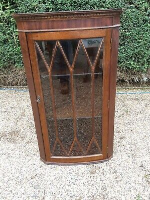 Antique Style  Mahogany Wall Hanging Corner Cupboard Astral Glazed Door With Key