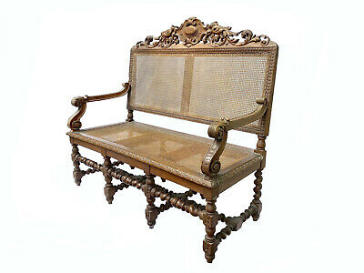 19th Century Portuguese Carved and caned Oak Settee