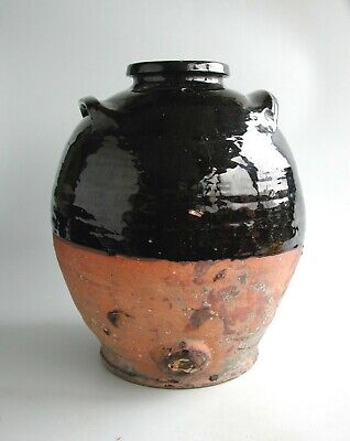 Antique Large Country Pottery Buckley Blackware Brewing Jar 18th / 19th Century