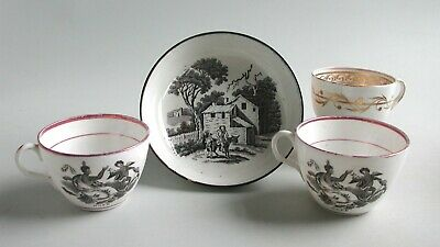 Antique 19th Century Black & White Transfer Pearlware China  Cups & Dish + Cup