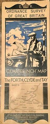 Antique Ordnance Survey Of Great Britain Map The Fourth Clyde And Tay Map C 1934