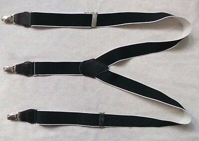 Braces Suspenders Mens Vintage CLIP ON 1980s STOCKBROKER BLACK WHITE