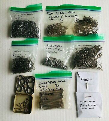 """Vintage Assorted Steel Brads/Nails 1 lb 9 oz - ½"""" - 2½""""-Shank Sizes Vary-REDUCED"""