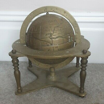 large Heavy antique brass terrestrial globe with astronomy and planetary details