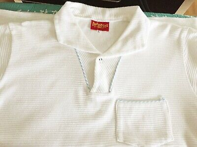 1950's STYLE WHITE WAFFLE CASUAL TOP ROCKABILLY - FREDDIES OF PINEWOOD SIZE L