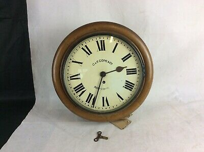 Antique Victorian Fusee Round Station / School Clock By G&F Cope Nottingham.