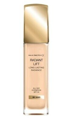New & Sealed Max Factor Radiant Lift Foundation In 60 Sand 30Ml Spf30