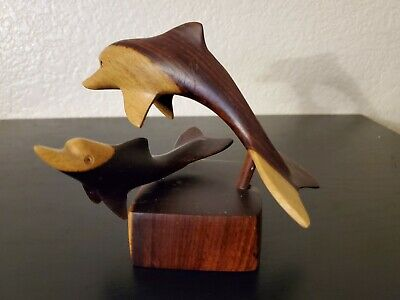 Hand Carved Wooden Dolphin with baby Vintage Statue Figurine multicolored wood