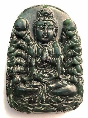 Finely carved antique Chinese dark green jade pendant of a seated Buddha