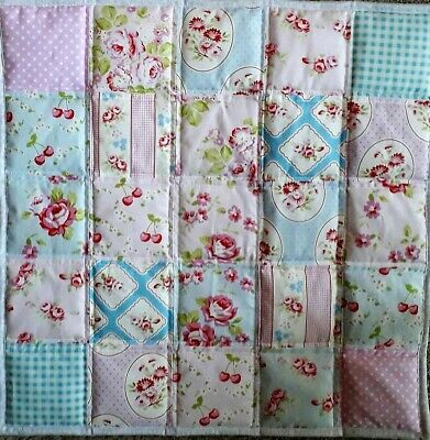 LadyL floral patchwork Kidston themed cot cover quilt playmat babygift pink