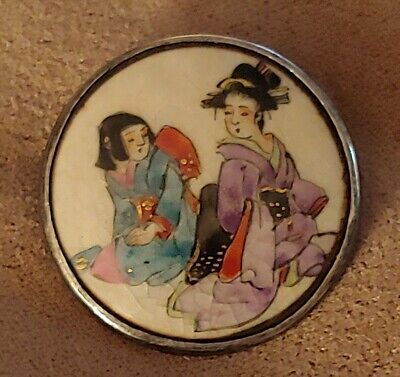 Antique Japanese Meiji Satsuma Hand Painted Porcelain and Silver Brooch Pin