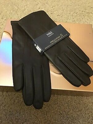 Ladies Marks And Spencer Brown Leather Gloves Brand New With Tags