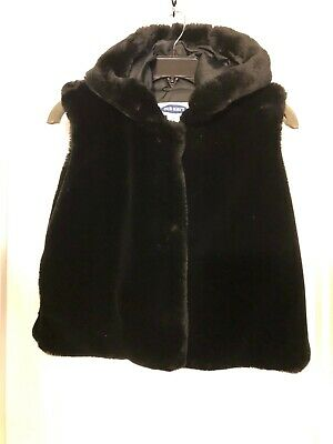 Old Navy Black Faux Fur Hooded Vest Classy, Warm, Fun Sz 14-Girls (Sz S-Womens)