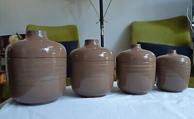 Vintage/Retro 1970s Brown Lacquer Ware Canister Set x4. Made in Japan