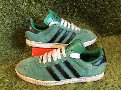ADIDAS GAZELLE : Mens Black / Green Suede Leather Trainers. : UK 9