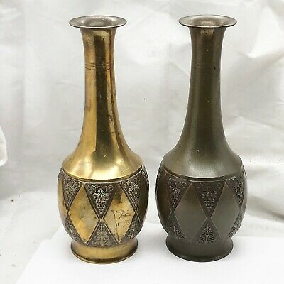 Antique Old Brass Kayser German Arts And Crafts Era Vases Pair