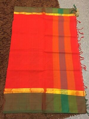 Beautiful Cotton Saree Red/sari NEW/Lenga Lengha Anarkali Churidar