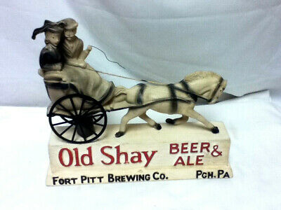 Old shay beer ale sign 1950 VTG statue chalkware chalk rubberoid horse carriage