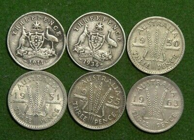 6 x Australian - Threepences - 1911,1934,1950,1951pl,1955,1963