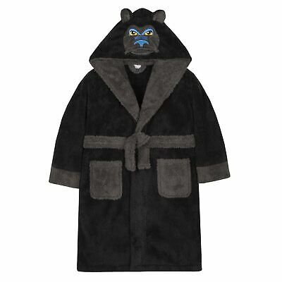 Boys/Childrens Gorilla Fleece Kids Robe Dressing Gown Black