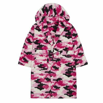 Girls/Childrens Camo Snuggle Fleece Kids Robe Dressing Gown Pink/Camo